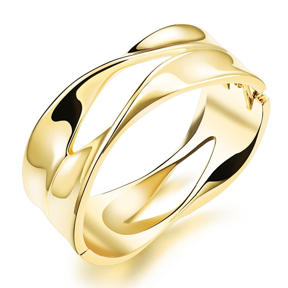 Gold plated bangle woman jewelry wide bracelet open bangle for women