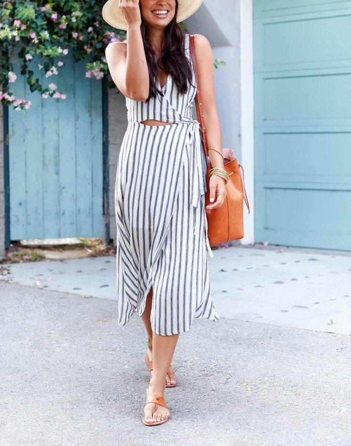60d8d912bf8 Stripes Down Rialto - ASTR The Label dress    Joie sandals    Janessa Leone  hat    Mansur Gavriel bucket bag July 11