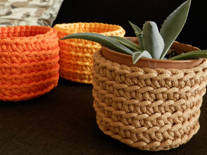 Crochet color rope basket (price per 1 unit) from RasvyteEcoHandmade by DaWanda.com