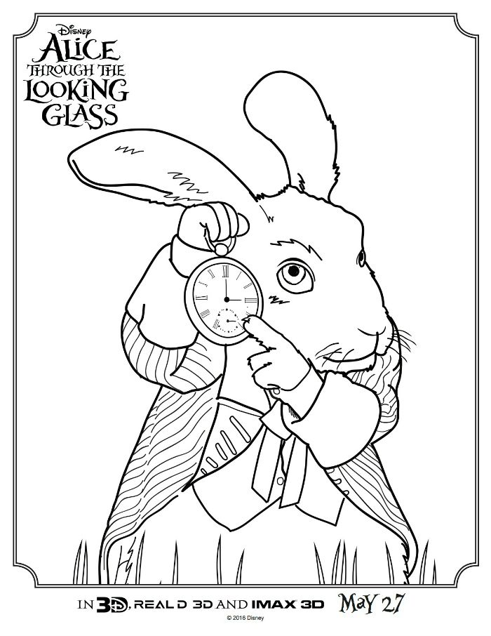Alice Through The Looking Glass White Rabbit Coloring Page