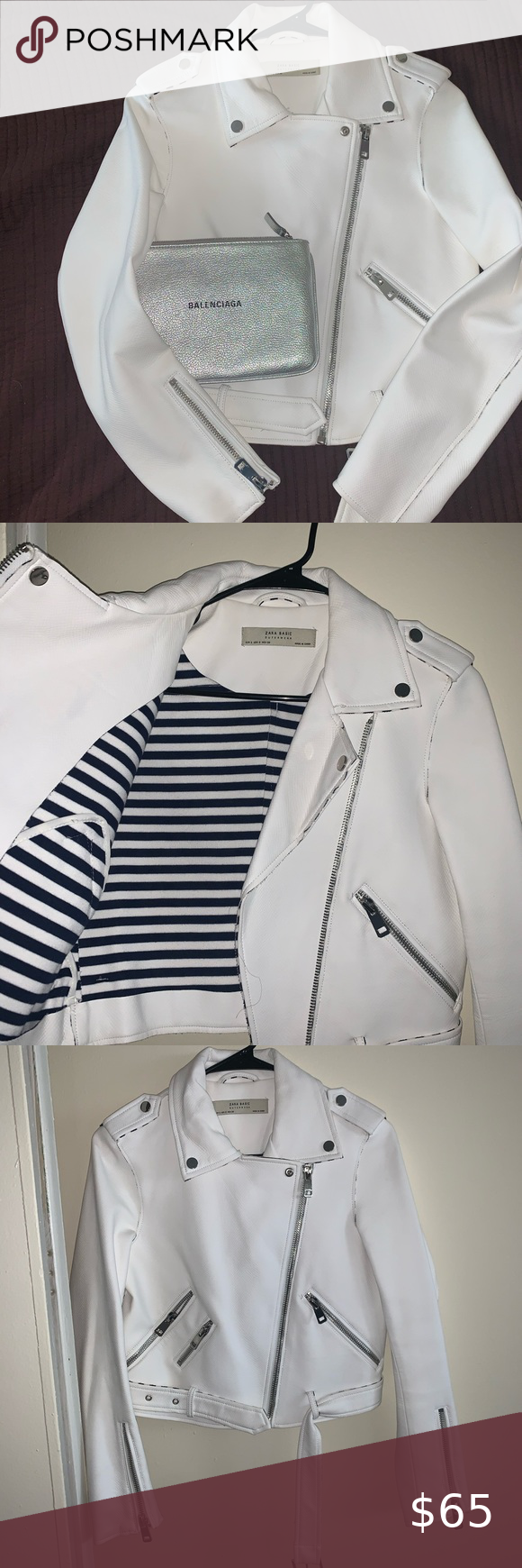Zara white faux leather jacket in 2020 White faux