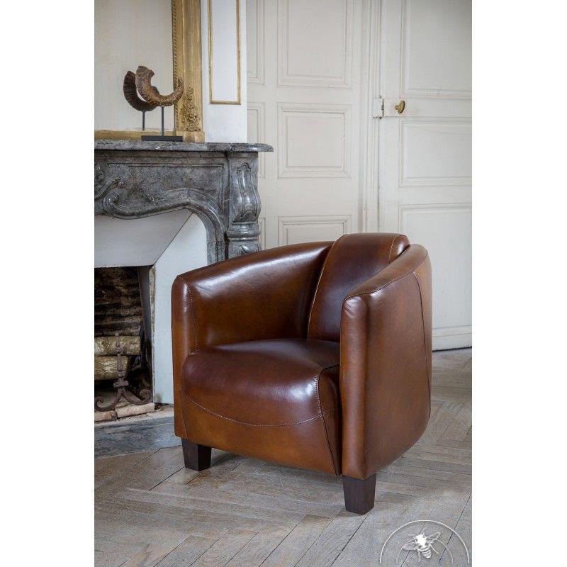Fauteuil club cuir marron vintage Opéra
