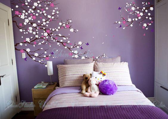 Decoraci n de paredes 2018 flores de cerejeira cerejeiras e quartos casal - Paredes pintadas a cuadros ...