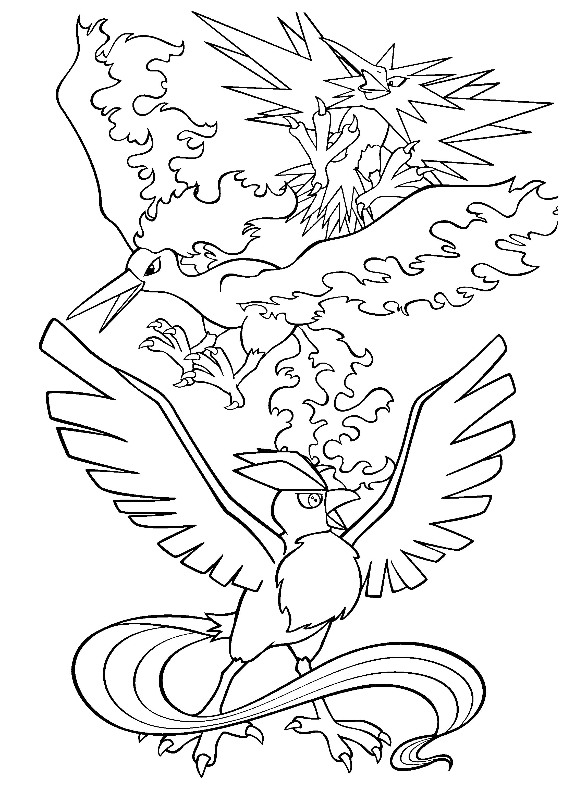 Legendary Bird Pokemon Coloring Pages Gallery With Images