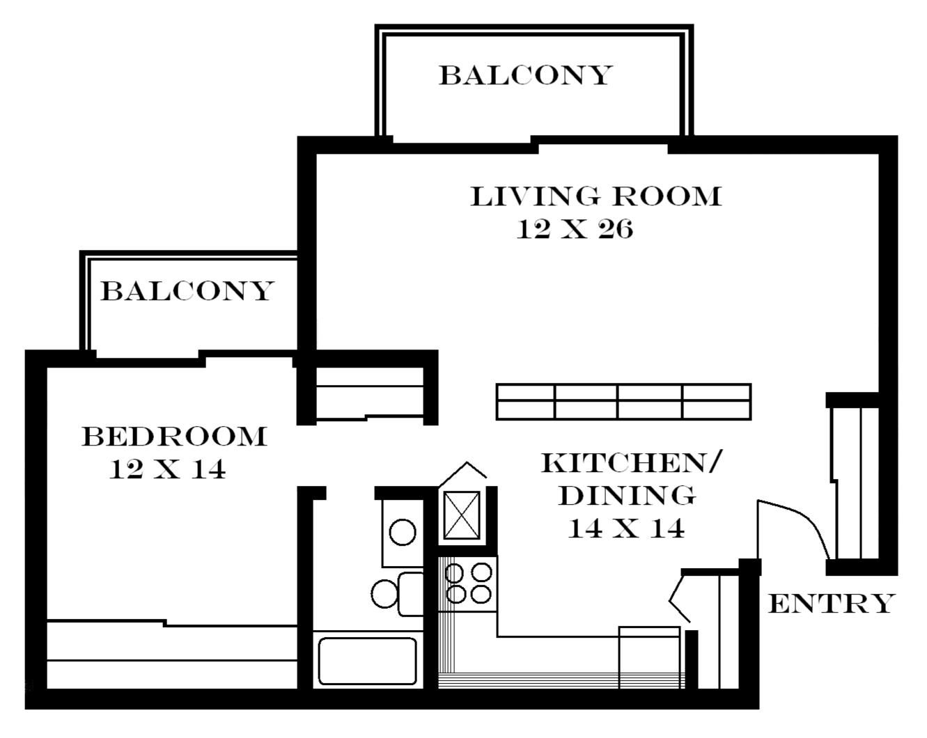 I Also Really Like This Floor Plan Because The Kitchen And Living - One 1 bedroom floor plans and houses