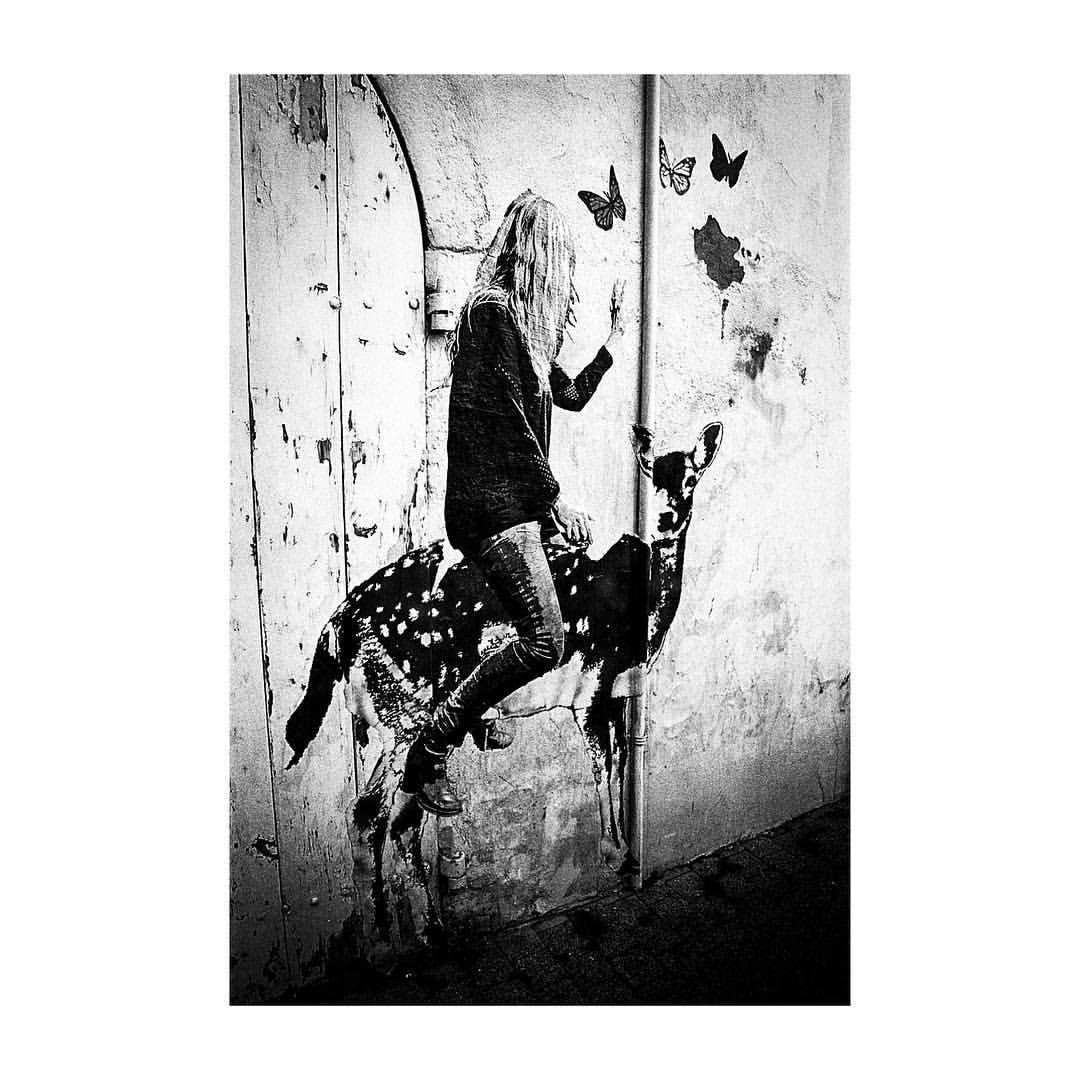 Streetart larochelle girl buterfly doe bambi wall street