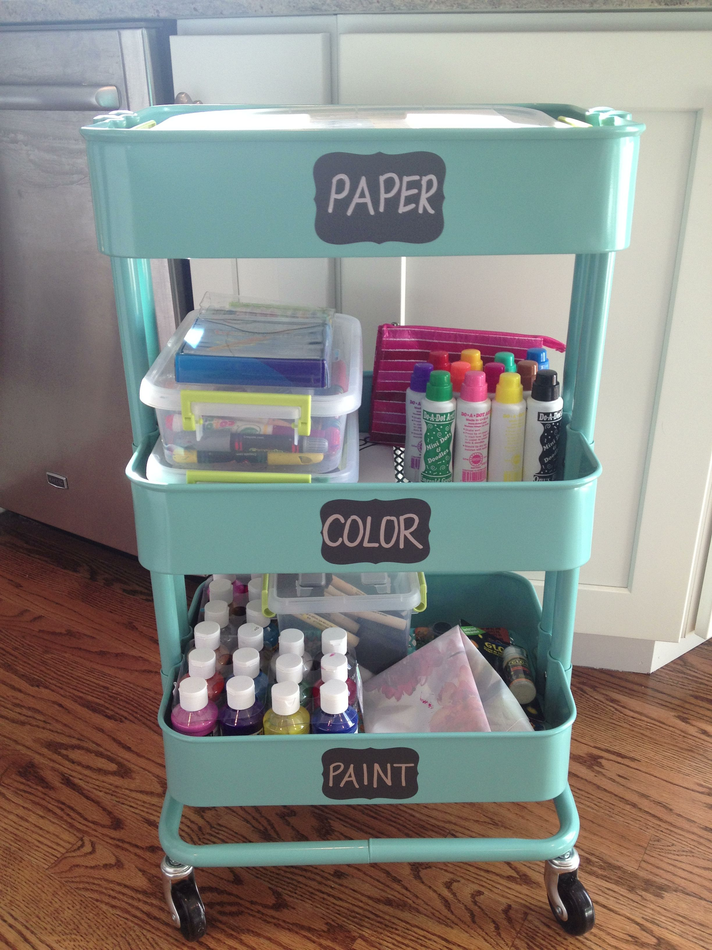 Kids craft organization cart. Kitchen Cart from IKEA. Chalkboard ...