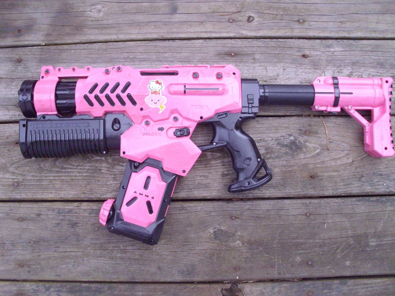 Apocalypse Meow Hello Kitty Nerf Tornado Strike Prop Gun. $60.00, via Etsy.