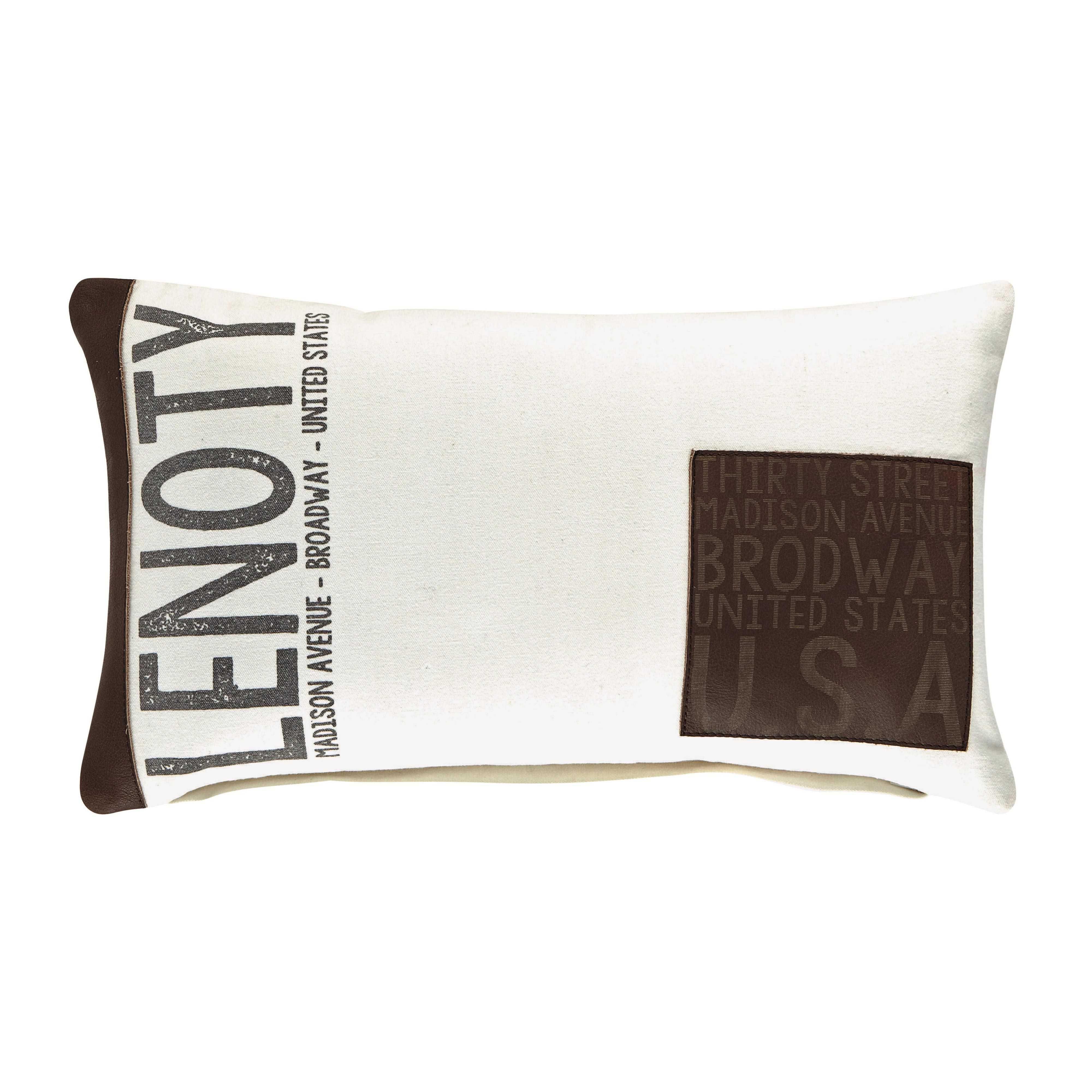 maison du monde ambiance industrielle ou vintage coussin en coton blanc et marron 30 x 50