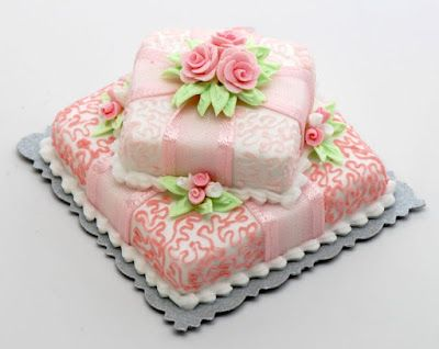 Dollhouse Miniature 2 Tier Square Cake with Flowers 1:12 Scale Pink Green White