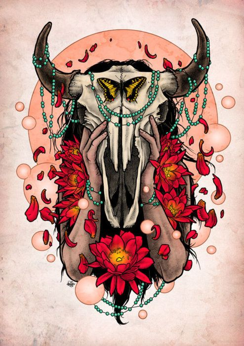 lotus/bull skull illustration....this fits me soo well because I'm a Taurus and it's dripping in turquoise and has flowers and a butterfly! Love it! Possible tattoo idea?? Hmmm