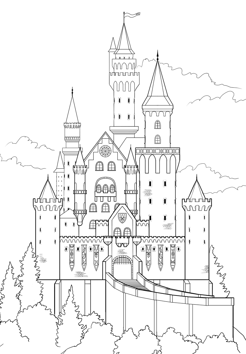 Castle Line Drawing : castle, drawing, Final, Product, Image, Disney, Castle, Drawing,, Sketch,, Drawing