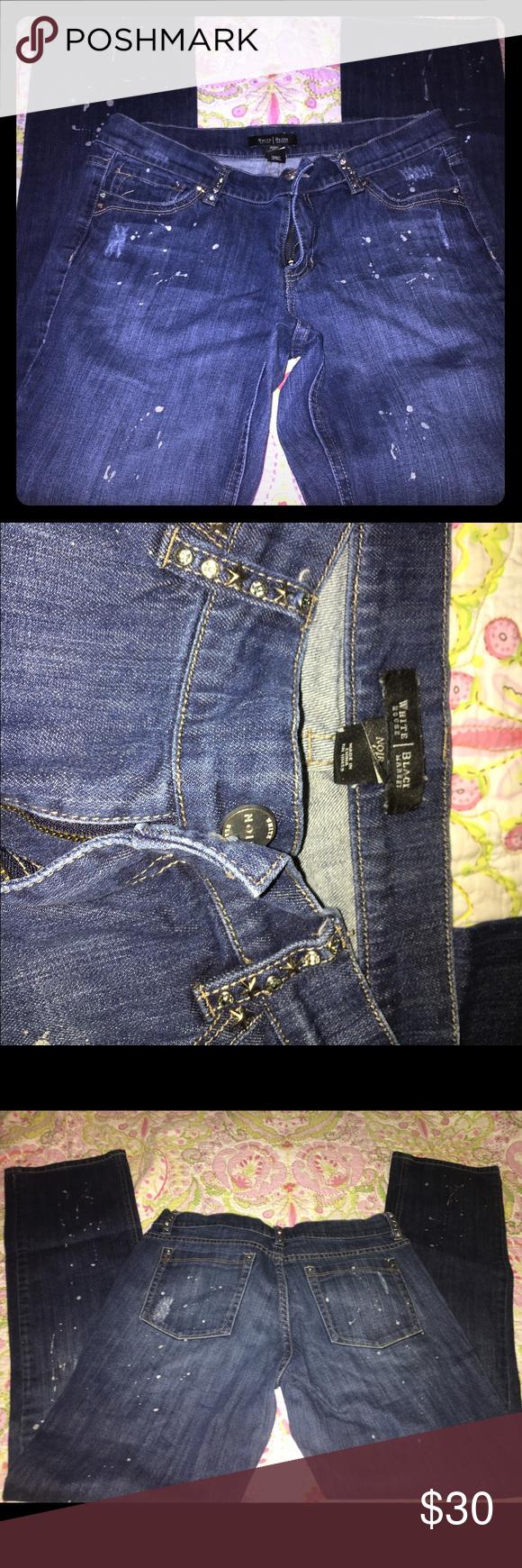 White House black market jeans silver paint splat No holes, no stains White House Black Market Jeans Straight Leg