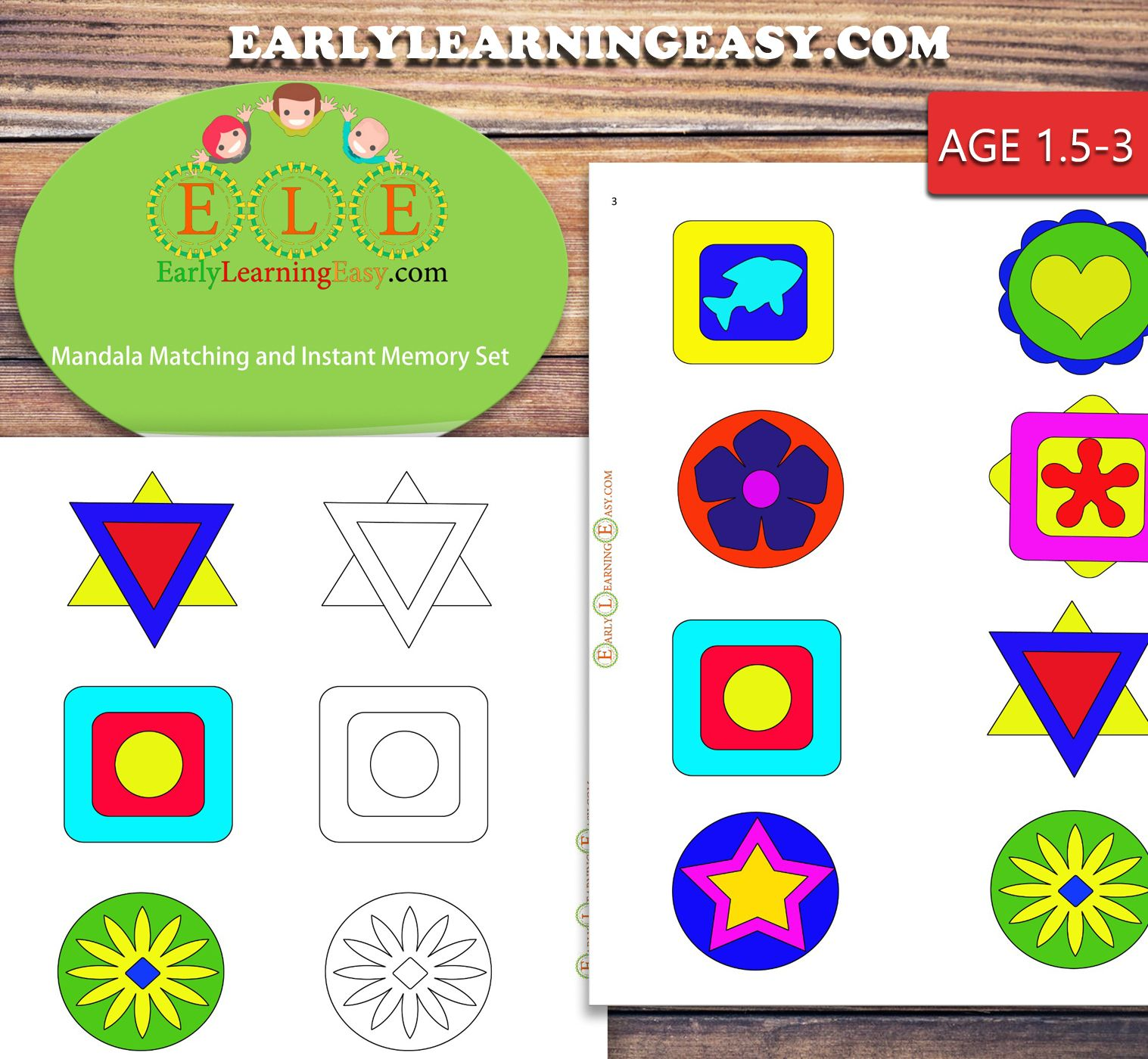 Mandala Matching And Instant Color Memory Toddlers