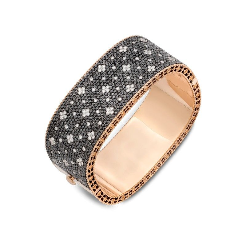 Roberto Coin Venetian Princess 18K Rose Gold & Black Diamond Bangle NhC5a