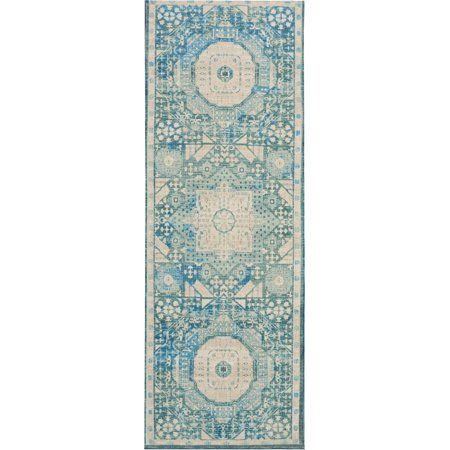 Nourison Madera Repeat Medallions Teal Area Rug Blue Teal Area Rug Area Rugs Rugs