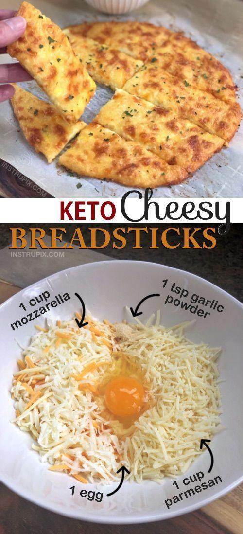 Photo of Easy 4 Ingredient KETO Cheesy Garlic Bread Stick Recipe