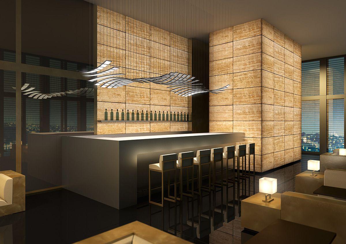 Selux Manta Rhei Kitchen Bar Design Among Unique Modern Ceiling Light Decor Finished With Modern Kitchen Stools Bar Furniture