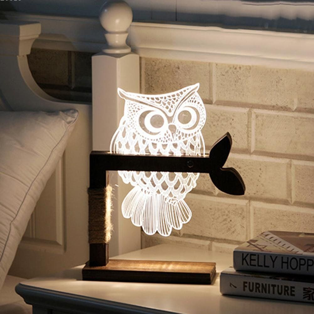 3d Owl Light Lamp Petagadget Bedside Desk Lamps Led Table Lamp Lamp
