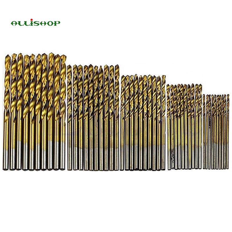 Allishop 5 unids/set giro juego de brocas hss juego de alta herramienta titanium de acero recubierto
