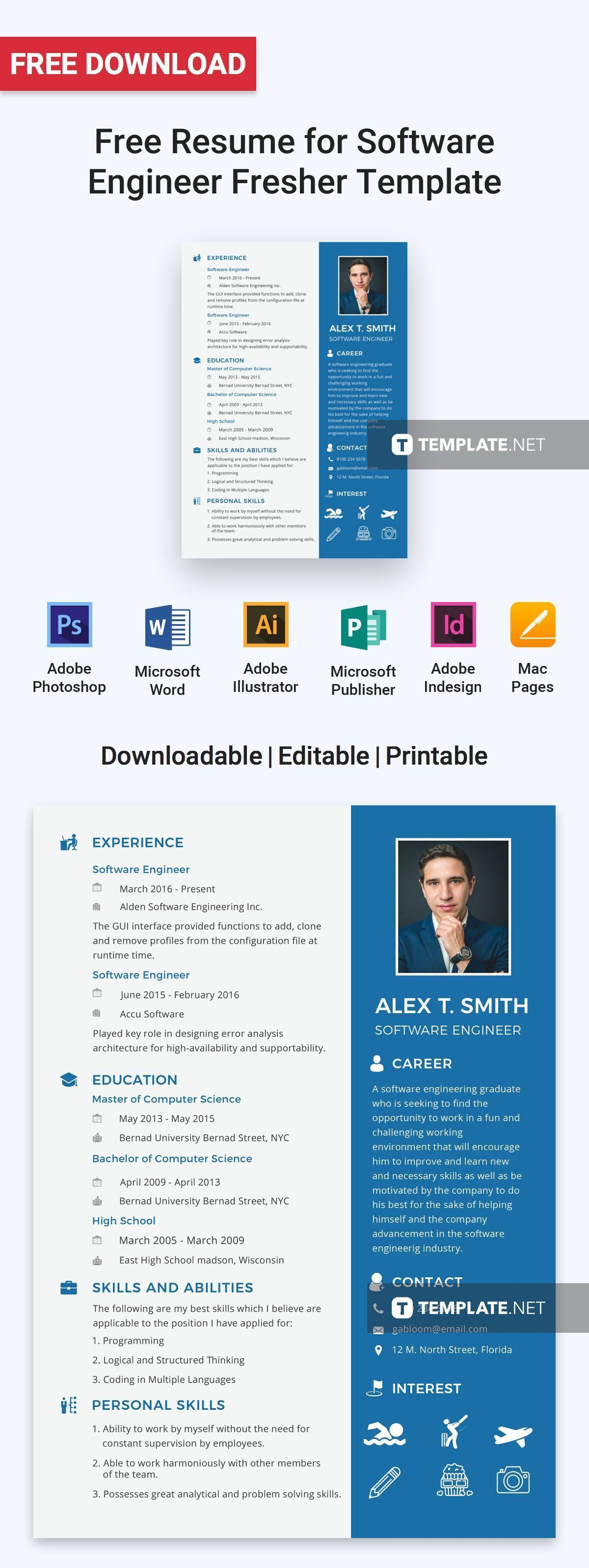 Free Resume for Software Engineer Fresher Software