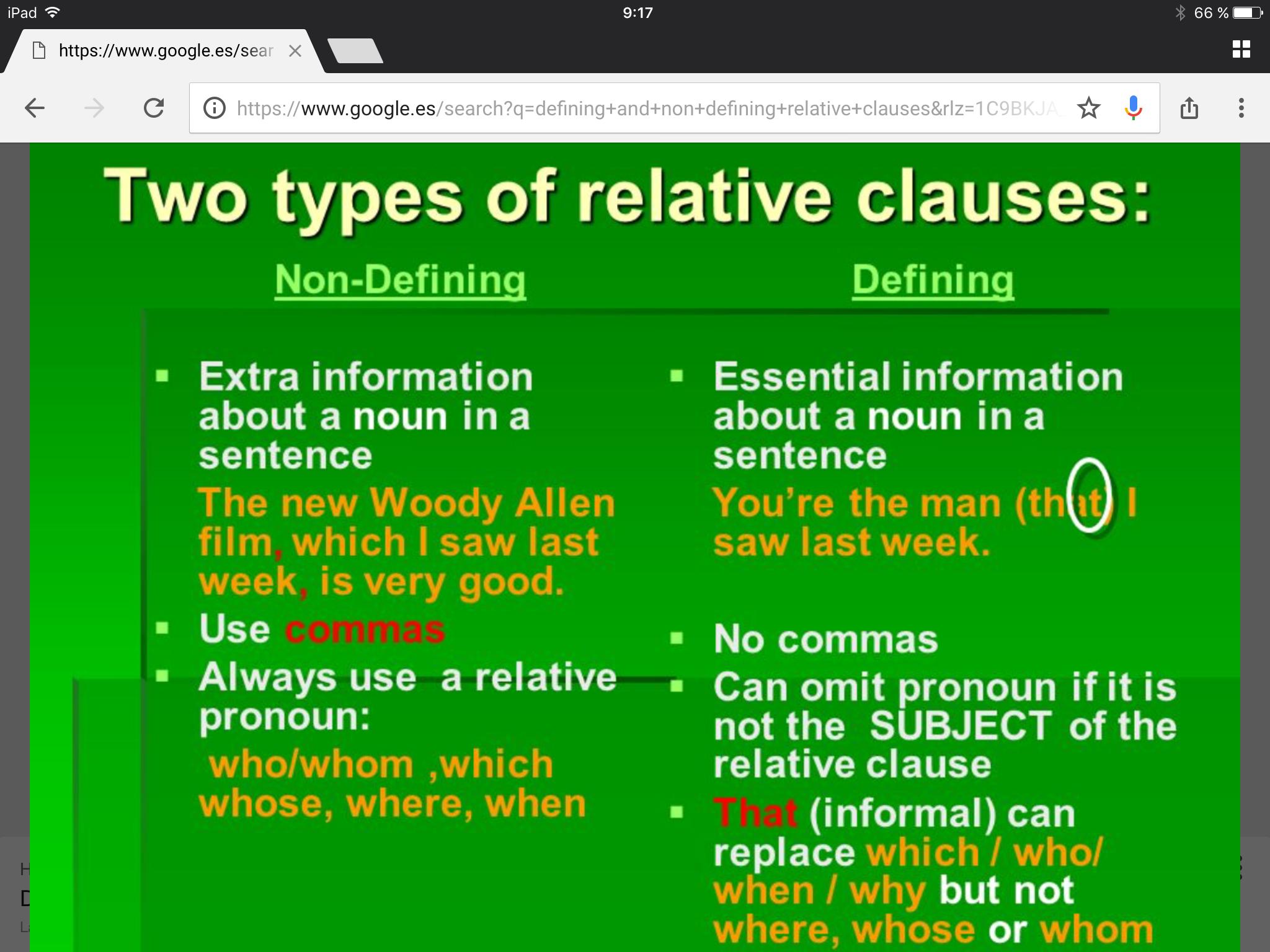 Pin En Defining Non Defining Relative Clauses