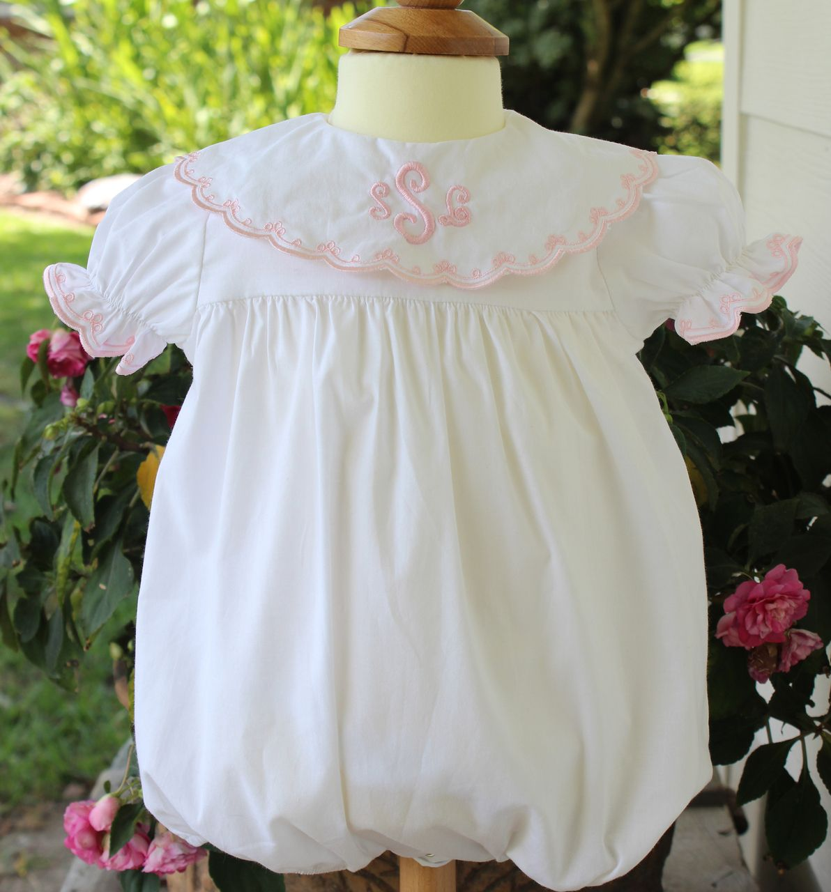 b1421c8b4 Girls White Dressy Bubble Outfit Pink Scalloped Collar