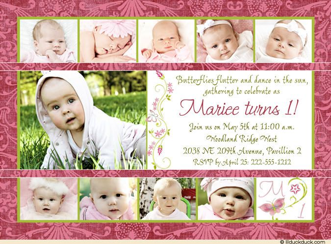 Girls keepsake collage 1st birthday invitation photos keepsake collage girls 1st birthday invitation 11 photo pink green butterfly damask card stopboris Image collections