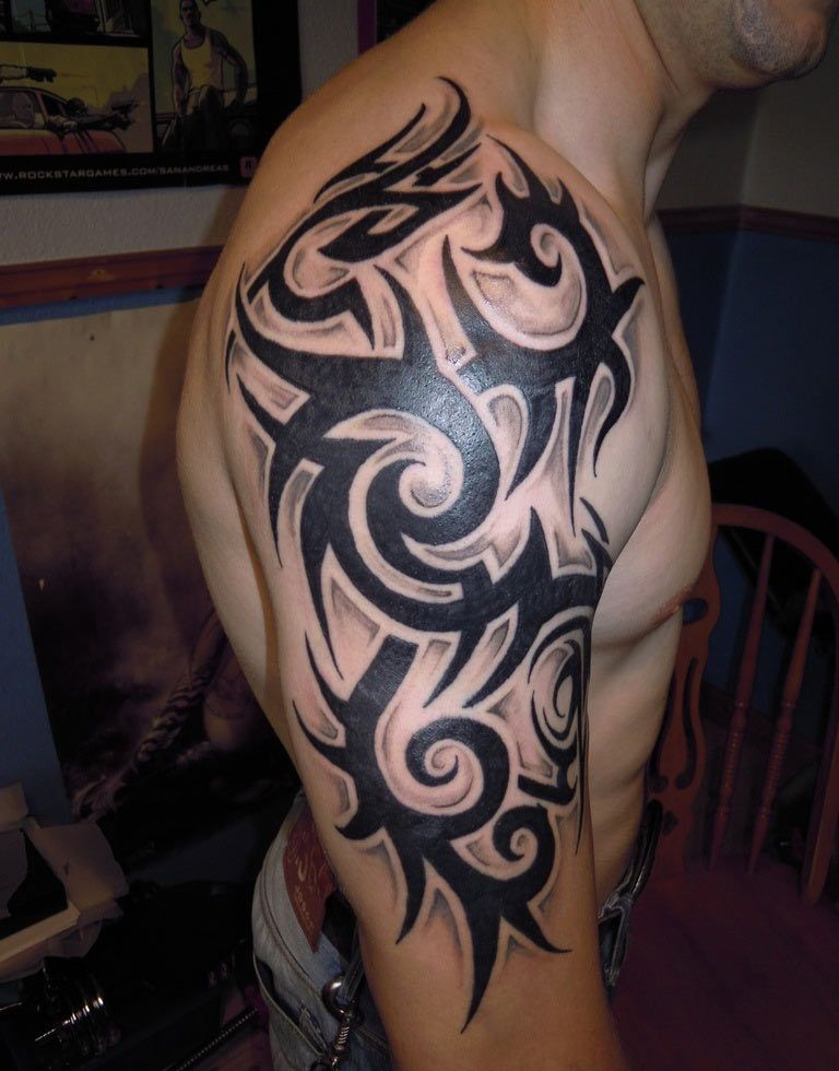 Thick And Dark Tribal Design On Half Sleeve For Guys Tribal Tattoos Tribal Shoulder Tattoos Mens Shoulder Tattoo