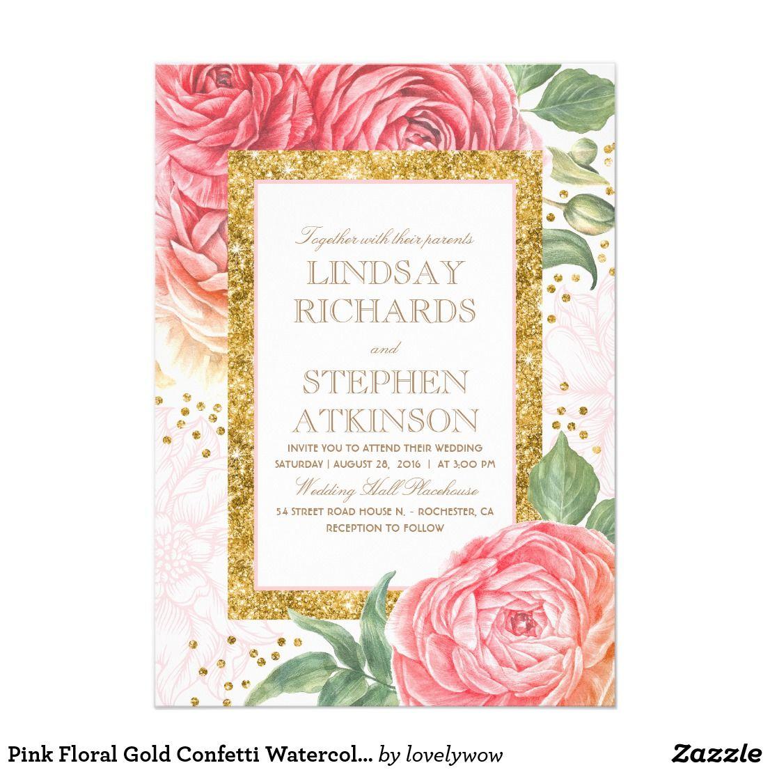 Pink Floral Gold Confetti Watercolor Wedding Invitation Watercolor