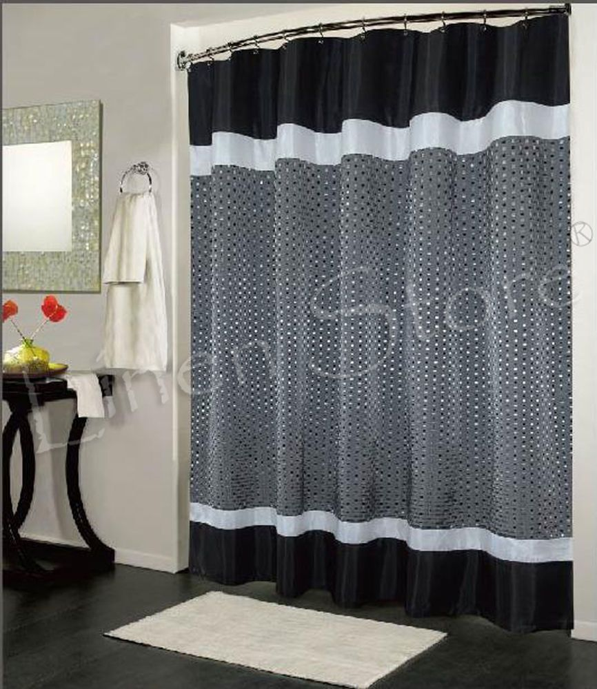 TRAFALGAR FABRIC SHOWER CURTAIN JACQUARD TAFFETA MATERIAL BLACK GREY ...