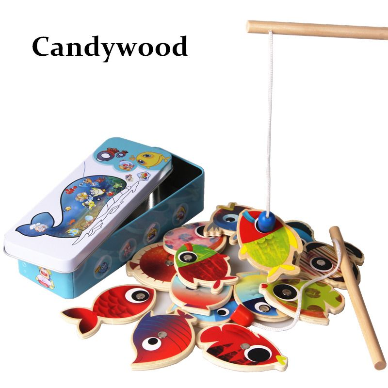 14 Fishes + 2 Fishing Rods Wooden Children Toys Fish Magnetic Pesca ...