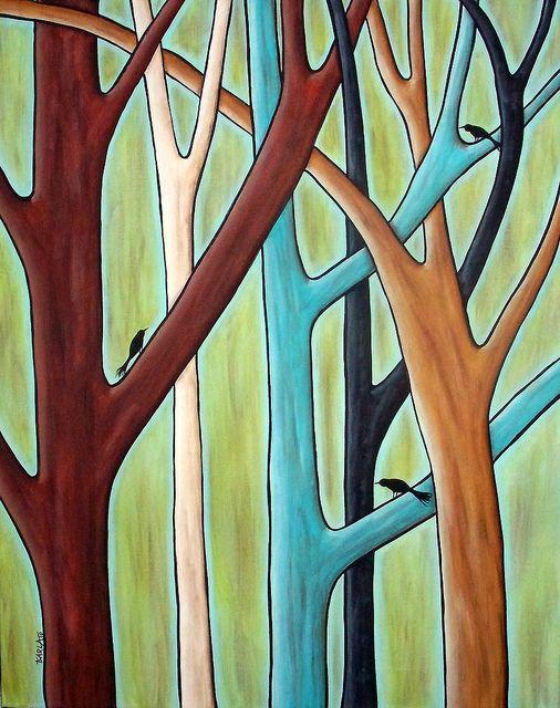 5 Trees & 3 Birds    16x20 Original folk art abstract acrylic painting by Karla G