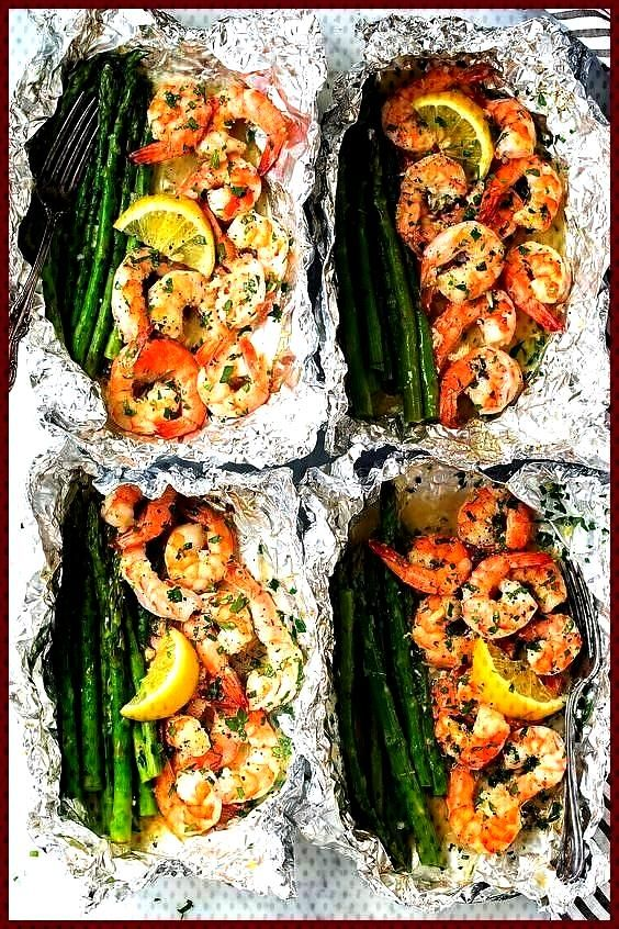 and asparagus foil packs with garlic and lemon butter sauce Recipes Note Shrimp and asparagus foil