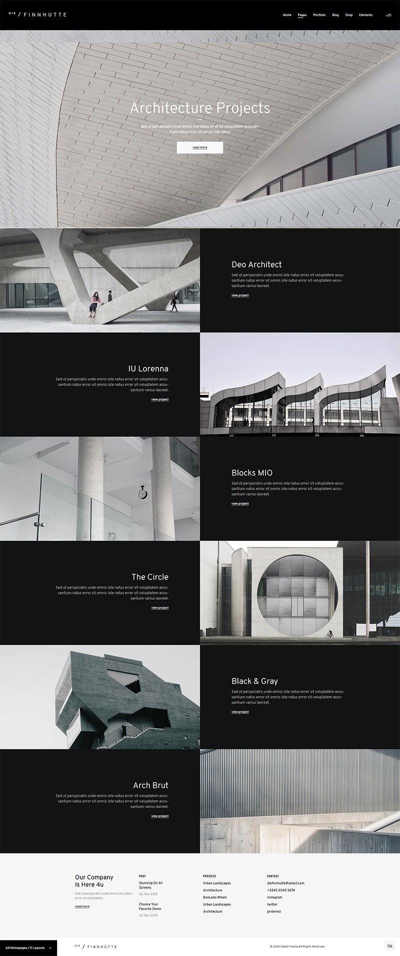Die Finnhutte Modern Architecture And Interior Design Theme Interior Design Themes Modern Web Design Website Design Layout