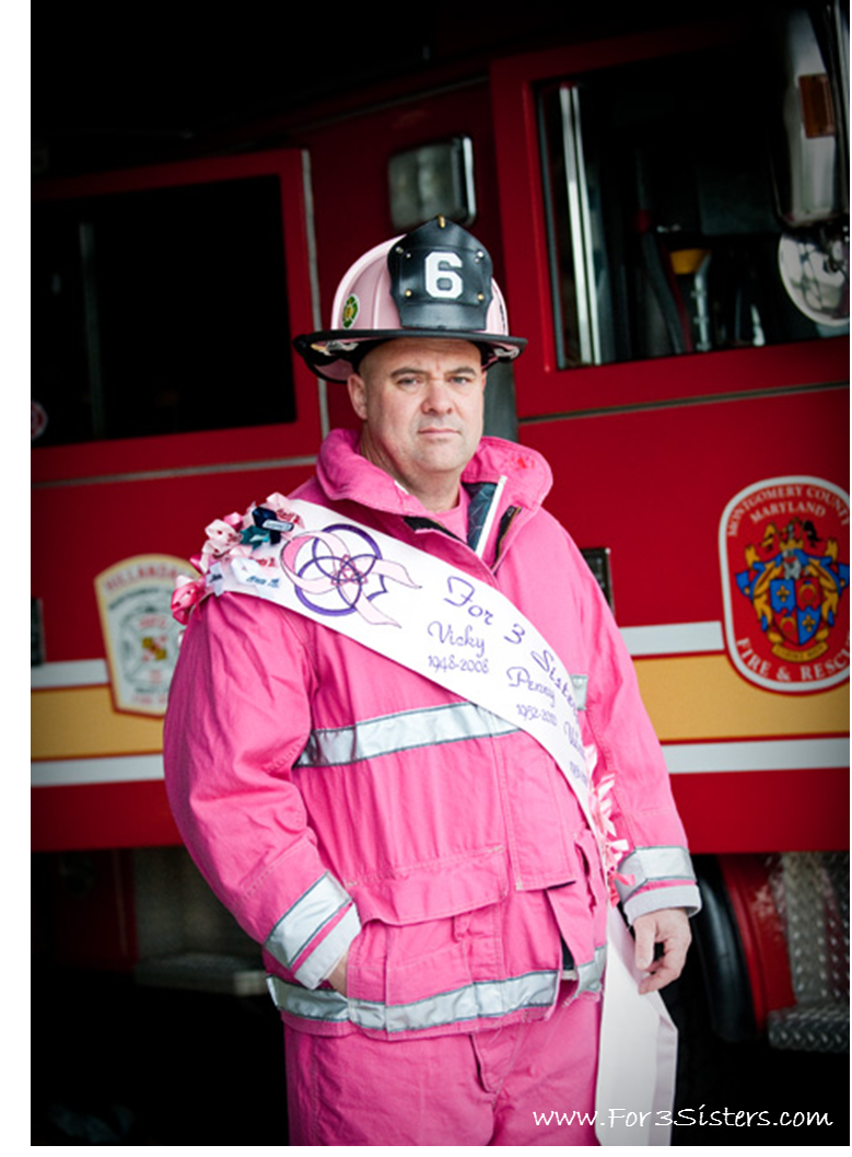 Marshall (a.k.a. The Pink Fireman) lost 3 sisters to breast cancer. He turned his life's mission into supporting breast cancer fighters, survivors, and their   families, and to raise awareness about breast cancer in the community! Photography courtesy of Freed Photography in Bethesda, Maryland.