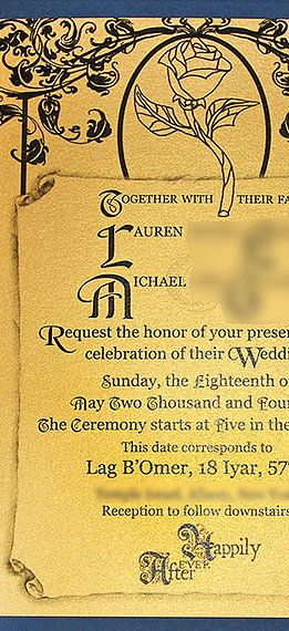 Themed custom wedding invitations Beauty and the beast themed