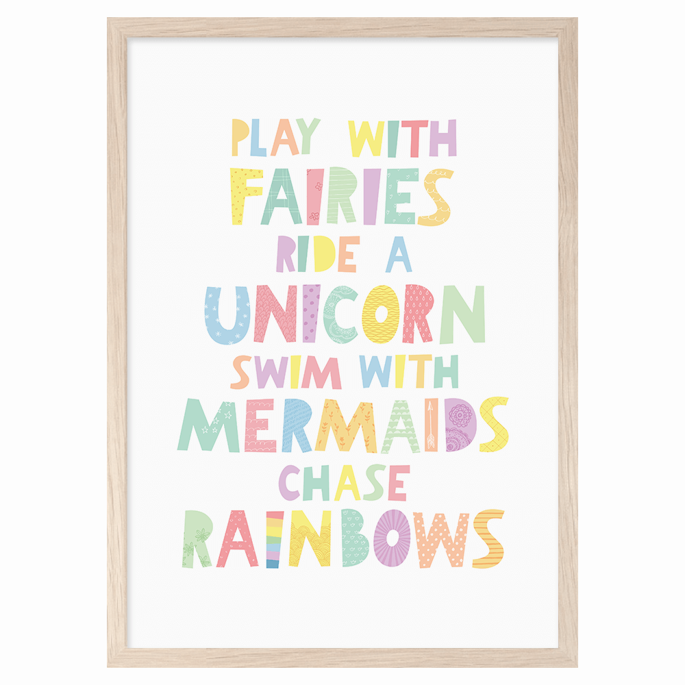 Play with fairies Ride a unicorn nursery poster by Mini Learners