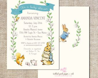 Personalized Wish Cards Baby Shower Peter Rabbit