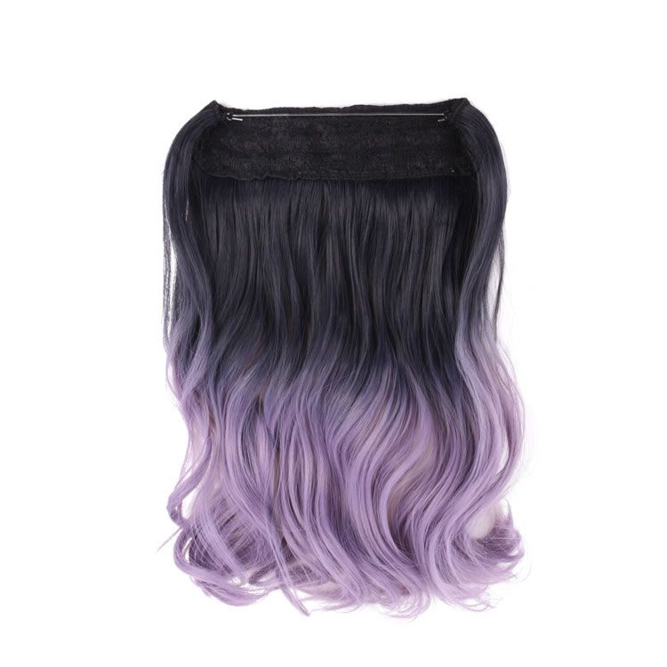 Black Purple To Powdery Violet Ombre Color Synthetic Flip In Secret