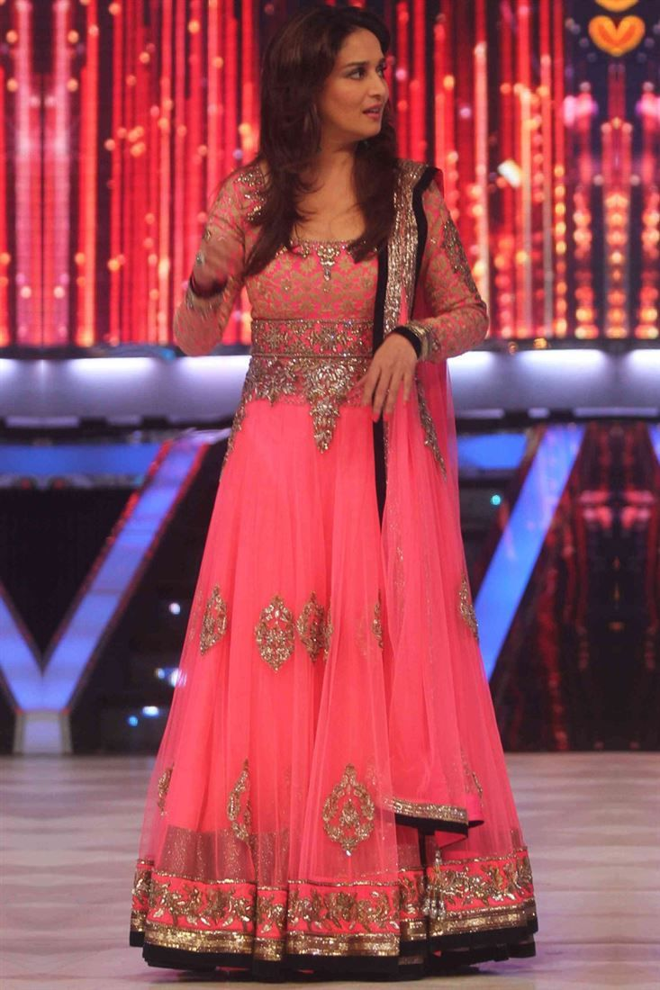 Madhuridixit Pink Bollywood Replica Suit 1332 104 Indian Dresses Neon Pink Dresses Fashion