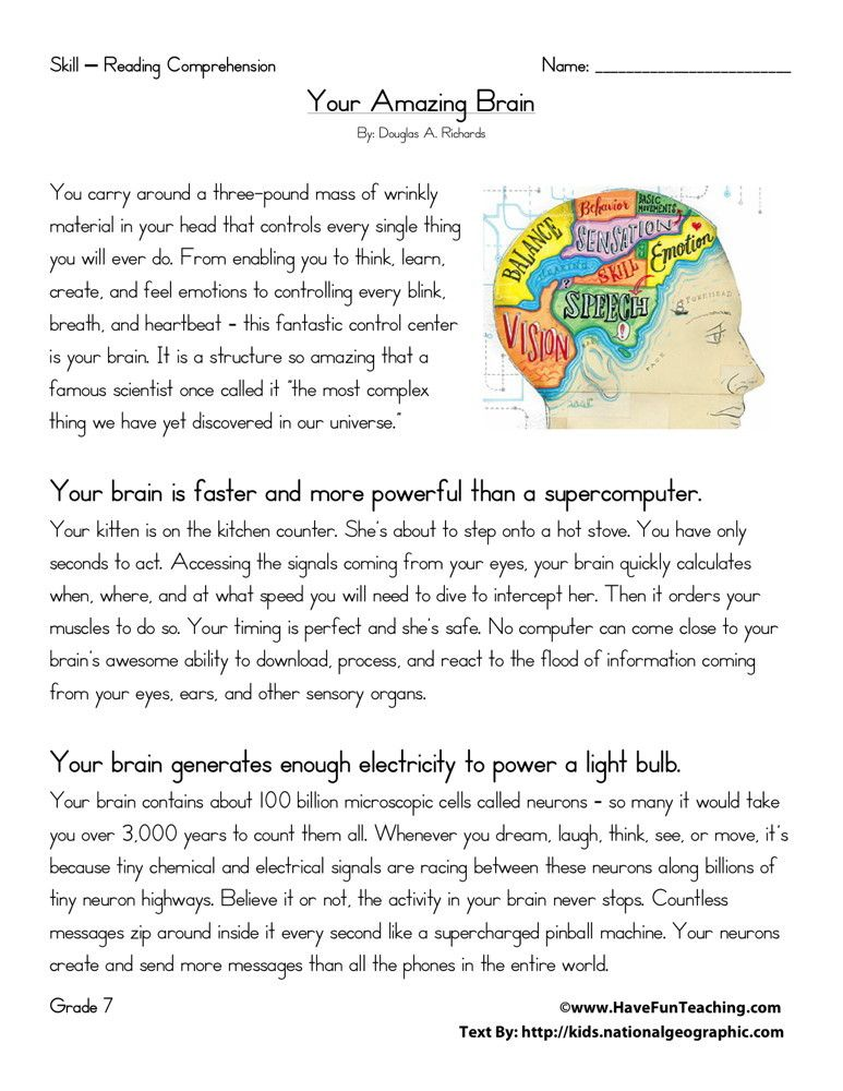 This Reading Comprehension Worksheet - Your Amazing Brain Is For Teaching  Readi… Reading Comprehension Worksheets, Comprehension Worksheets, Reading  Comprehension