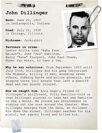 000 John Dillinger Criminal, Criminal profiling, Real gangster
