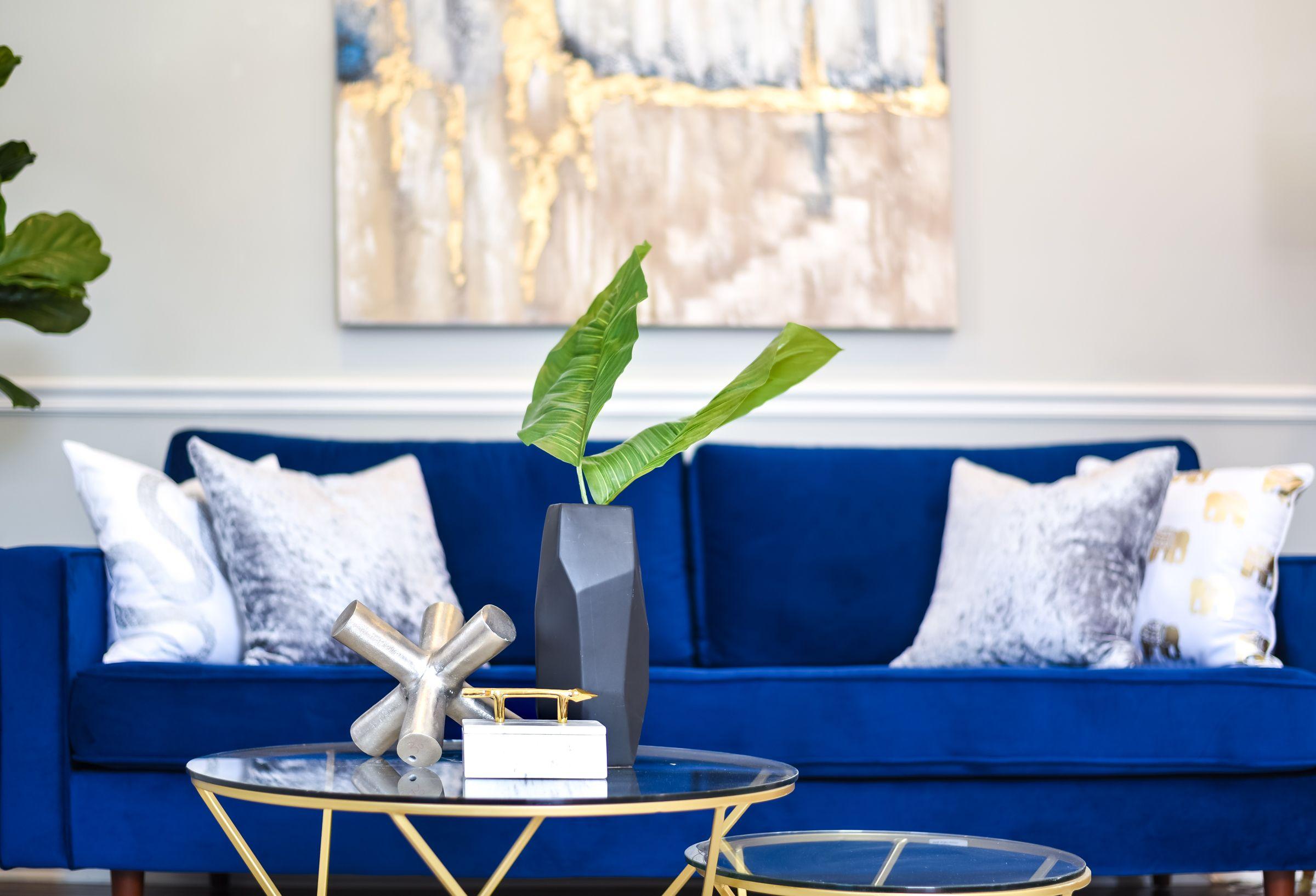 Coffee Table Centerpiece Blue Sofa Blue Velvet Sofa Gold And