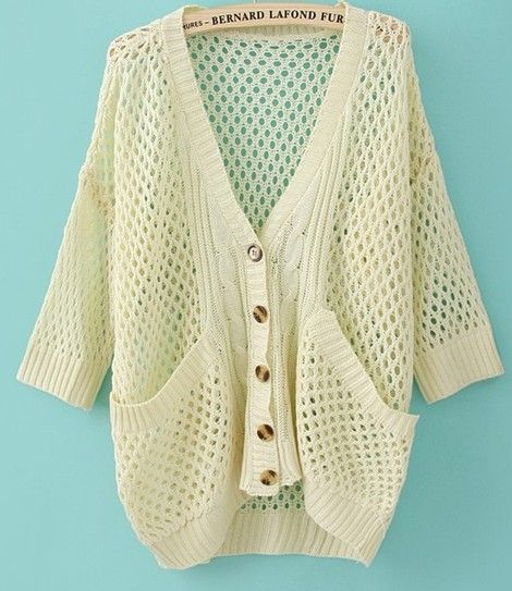 Wholesale Pretty & Trendy Pure Color Hollow-out Middle-length Sleeve Sweater----White  top dresses