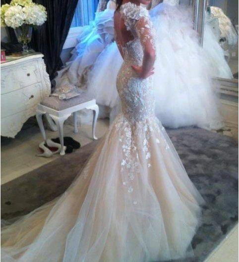 precioso corsé de la espalda de encaje de tul de novia sirena 2014 vestidos