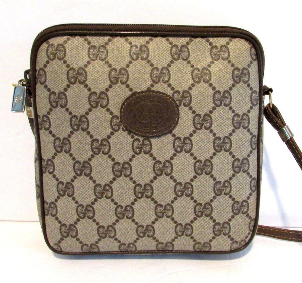 f2db43d9181 Authentic Vintage GUCCI Crossbody Messenger Shoulder Bag Purse Handbag GG  Logo