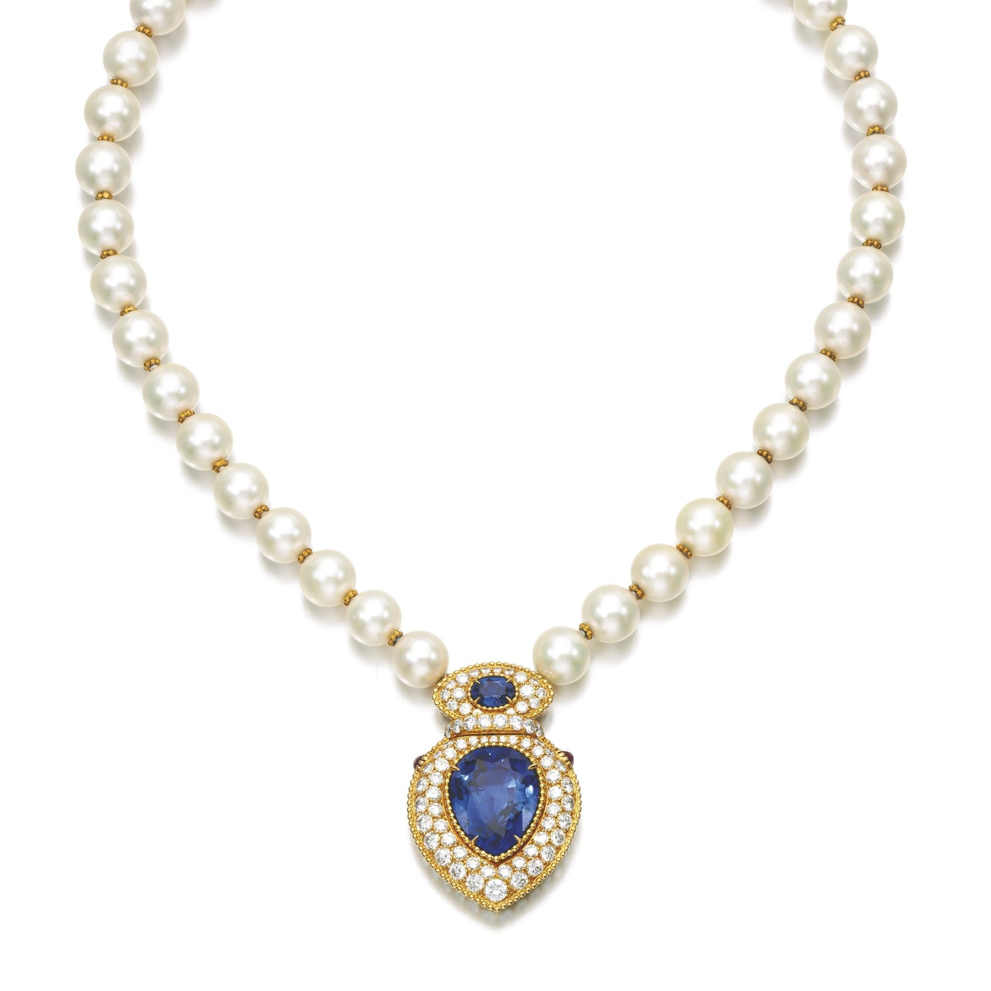 Cultured pearl sapphire ruby and diamond necklace designed as a
