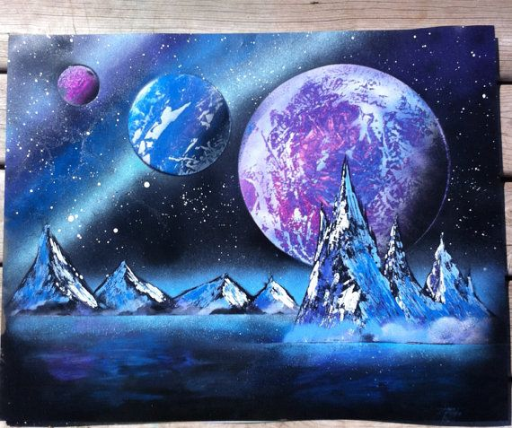 Purple planet space painting by smoke and metal etsy for Outer painting design