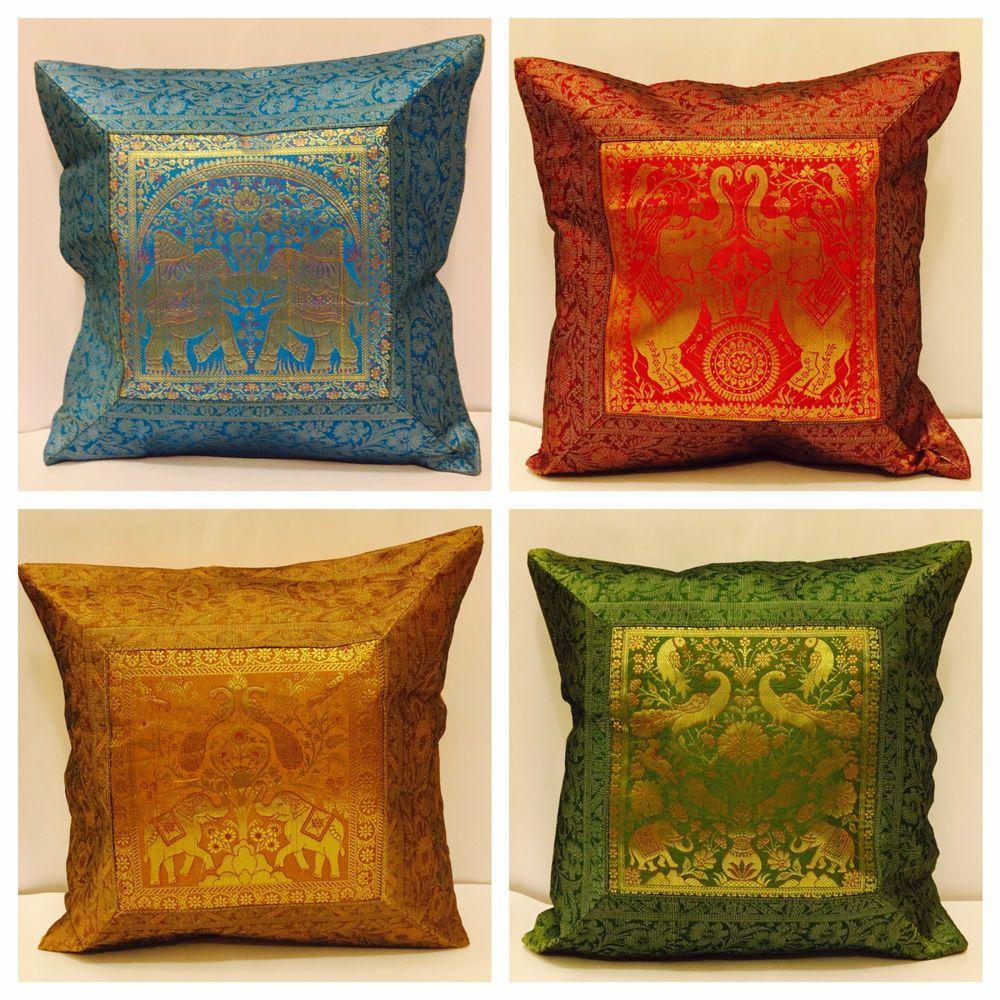Indian Mandala Sari Ethnic Silk Brocade Scatter Banarasi Cushion Cover  Covers UK